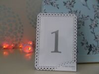 WEDDING/SPECIAL OCCASION/GARDEN PARTY TABLE NUMBERS