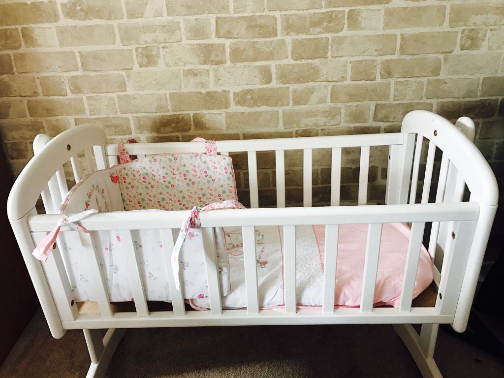 Baby cribs john lewis - John Lewis White Wooden Baby Crib With Mattress Image 1 Of 3