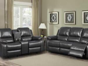 A Leatheraire Motion Sofa /loveseat With Console Having Silver Cupholders a Recliner Chair With Pocket Coil (KA1103)