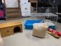 Indoor Hamster or Guinea Pig Hutch (can deliver) + Wooden Shelter + Extras