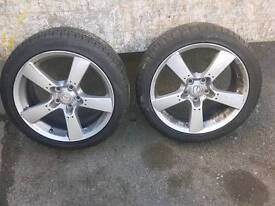 "18"" x 2 Alloy wheels, brand new tyres! Offers welcome. Fits mazda rx8 Must go"