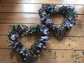 Two large rustic wicker hearts - wedding /events