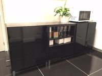 IKEA Besta Storage combination with drawers - with black glass top