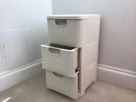 3 Drawer plastic storage tower