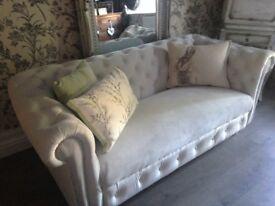 vintage grey chesterfield newly upholstered in laura ashley velvet
