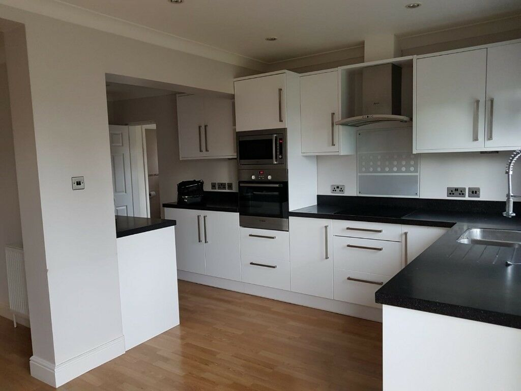 White Kitchen Units With Black Worktop Great Condition