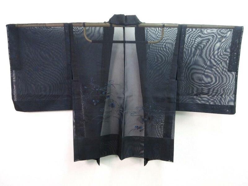 B1-4653a280 Silk Japanese kimono Haori Jacket See-Through Emboridery Blue Black