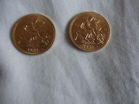 2 x 1931 Gold Sovereign King George V