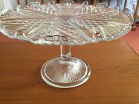 Beautiful Vintage Glass Cake Stand in Very Good Condition