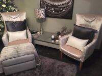 Brand New unused Designer Room Ivory Chairs Pair, Lush velvet