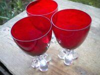 3 VERY HEAVY RED STEM GLASSES