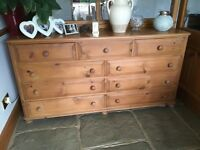 Pine Chest of Drawers - 67 Inches long / 17 inches deep / 35 inches high