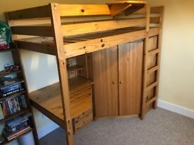 Wooden High Sleeper with Desk, wardrobe and chest of drawers