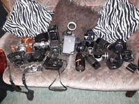 Cameras, Lenses, Filters, Dark room equipment, tripods, etc etc - job lot