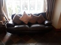 Dark brown leather sofa 3&2seater ready to collect asap