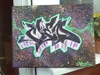 Any Name Direct from artist graffiti canvas painting a3 size Many Available