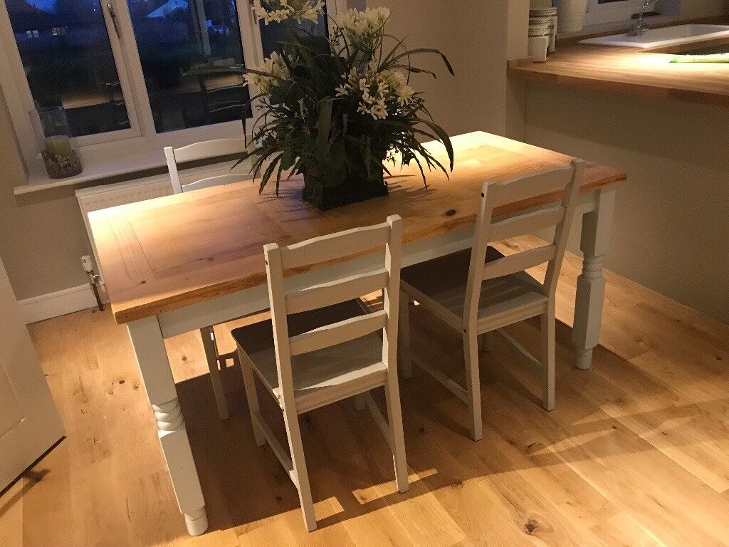 Upcycled Wooden Table With Painted Legs And 4 Grey Ikea