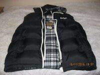 Lee Cooper Mens Black Hooded 2 Zip Padded Gilet Sleeveless Jacket Size S RRP£55