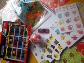 party bags, toys and temporary tattoos