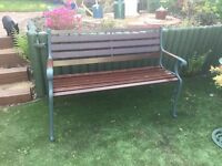 "Garden Bench with Wrought Iron Ends Measurements Height 33"" (84cm) Width 24""(61cm) Length 51""(130cm)"