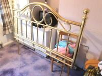 King Size Divan Bed with Brass Headboard and Mattress