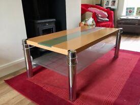 Beech and glass coffee table