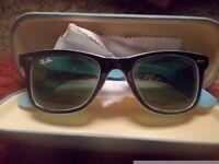 Ray-Ban sunglasses and case vgc Wayfarer Matte Black Blue Frame Gradient RB2132