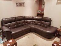 Brown Leather Corner Sofa - £150 ono