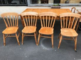 Rustic Farmhouse Table 6ft and 4 Chairs - perfect Shabby Chic conversion project