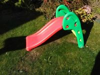 childs red and green slide