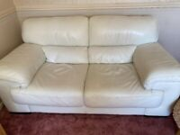 2 seater cream leather sofa and armchair