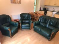 Green leather armchair and sofa set