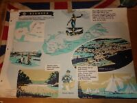 Vintage 1950's Educational Wall Poster Empire Information Project - Bermuda