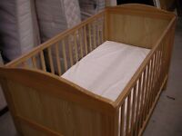 Pine baby cot with waterproof mattress