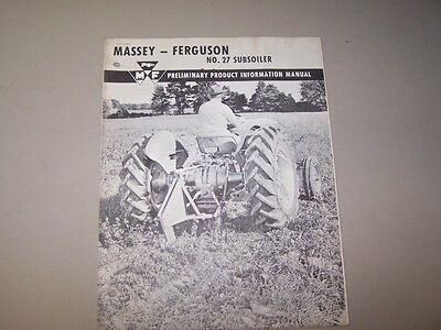 1950s Mf Number 27 Subsoiler Massey Ferguson Product Information Manual