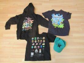 3 x Minecraft clothes plus baseball cap