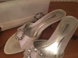 Dolcis size 6 satin gem kitten heel mules with matching clutch