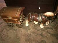 Large vintage shire horse and gypsy caravan 40+ years old