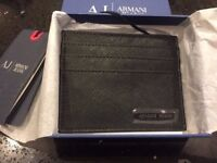 Armani Jeans Metal Logo Black Card Holder