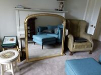 4ft x 4ft Gold Fireplace/Mantelpiece/Overmantel Mirror (approx 120cm wide, 122cm high)