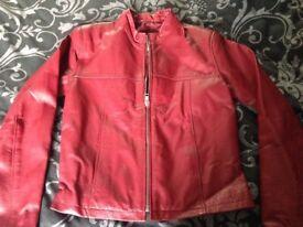Red genuine leather biker jacket size 6