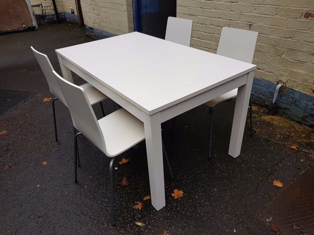 White Ikea Extendable Dining Table And 4 Chairs Free Delivery In Derby