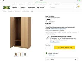 Oak ikea double wardrobe 201cm height