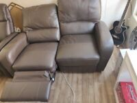 Reclining Brown Faux Leather Sofa