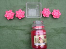 Yankee Candle Cranberry Pear Candle in a Glass Jar/4 Floating Candles and a Glass Dish - Batch FIVE