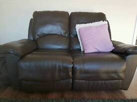 Brown leather recliners x 2