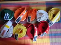 martial arts belts various colours