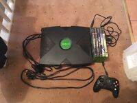 Original Xbox with 5 games, all cables 1 controller and DVD peripheral