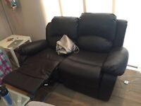 Luxury Electric Valencia 2 Seater Bonded Leather Recliner Sofa Brown