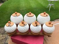Porcelain golf balls and spoons kitchen tea coffee and spice set complete with wooden lids and rack